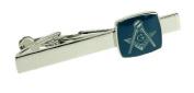 Silver Tie Bar with Blue Masonic Symbol Detail & Gift Box - The Masons