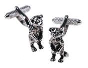 Silver Meerkat Cufflinks & Gift Box Wildlife Animal