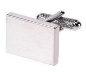 Plain Silver Rhodium Rectangular Cufflinks & Gift Box - Ideal For Engraving