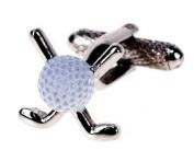 Silver Golf Clubs with White Ball Cufflinks & Gift Box - Golfer Golfing Present