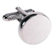 Round Rhodium Silver Plain Cufflinks & Gift Box - Ideal For Engraving