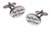 Silver Satin Oval Step Brother of the Groom Cufflinks