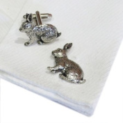 Rabbit Pewter Cufflinks. All our cufflinks come supplied in a Gift Box.