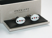 Mens Cufflinks - Playing Card Suits Oval Design *New* Boxed