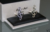 Novelty Cufflinks - Music Notes Treble Clef Design