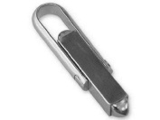Lightweight Assembled Sterling Silver Cuff Link, Square Bar With U Arm -