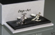 Novelty Mens Cufflinks - Skier Design