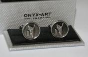 Mens Cricket Cufflinks - Round Cufflinks with Cricketer Design *NEW* Boxed