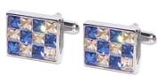 Clear & Blue Crystal Cufflinks - PSF58