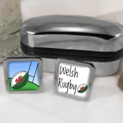Welsh Rugby Mens Cufflinks with Chrome Gift Box