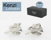 Mens Gents Contemporary Modern Design Cufflinks - For the Frequent Flyer - Perfect Gift for Wedding Day, Wedding Anniversary & Birthday