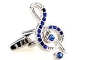 MFYS Classic Music Note Cuff Links Blue Crystal Masonic Cufflinks For Men With Box