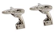 Harvey Makin Rhodium Plated Drill Cufflinks in Gift Box HM383 DIY Handyman