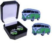 Camper Van Cufflink - Green Campervan design
