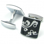 Enwis Generic Men'S Cuff Link Cufflinks Silver Black Wave Enamel