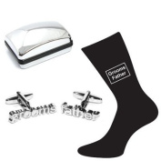 Grooms Father Wedding Silver Plated Cufflinks & Socks Set