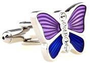 MFYS Crystal Cufflinks Purple Butterfly Design Novelty Cuff Links For Men