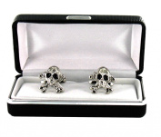 Skull & Crossbones Cufflinks - Retro Black and Silver Cufflinks - Comes in Mock Snakeskin Box