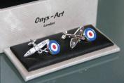 Novelty Cufflinks - Spitfire Aeroplane and Roundel Design