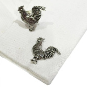 Cockerel Pewter Cufflinks. All our cufflinks come supplied in a Gift Box.