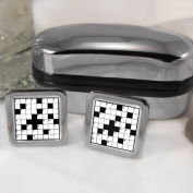 Crossword Puzzle Mens Cufflinks with Chrome Gift Box