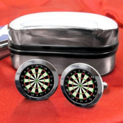 Dartboard Mens Cufflinks with Chrome Gift Box