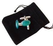 M Allen Green Aventurine Gemstone Cufflinks in Black Velvet Gift Bag