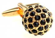 MFYS Classic Black Crystal Masonic Ball Design Fashion Cufflinks For Men
