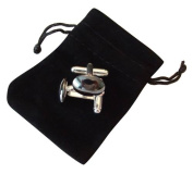 M Allen Jet Black Hematite Gemstone Cufflinks in Black Velvet Gift Bag