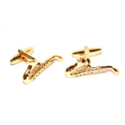 Gold Saxophones Cufflinks boxed music themed cuff links