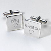 Engraved Love Cufflinks - Square ~ Groom Wedding Gift