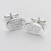 Engraved Love & Thanks Stepfather of the Bride Cufflinks