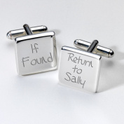 Enggraved If Found Cufflinks - Square ~ Groom Stag Night Gift