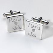 Engraved Loving Couples Cufflinks - Square ~ Wedding Anniversary Valentines
