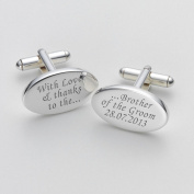 Engraved Love & Thanks Brother of the Groom Cufflinks