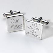 Engraved Our Place Map Location Cufflinks - Square