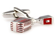 Alfred & Co. Mens Silver and Red Microphone Mic Music Novelty Cufflinks with Alfred & Co. Jewellery Box