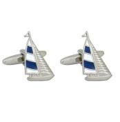 Dalaco Rhodium Plated Yacht Blue & White Cufflinks