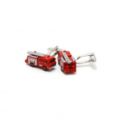 RED FIRE ENGINE CUFFLINKS in Chrome Box