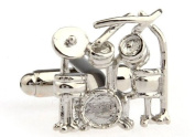 Alfred & Co. Mens Silver Music Drum Kit Novelty Cufflinks with Alfred & Co. Jewellery Box