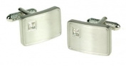 GB75255 - Bernex Cufflinks White Crystal Rectangle Rhodium Gents Complete with Gift Box