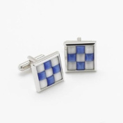 GB75210 - Bernex Cufflinks Bl/Wh Rectangle Cat Eyes Gents Complete with Gift Box