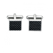 Gents Stainless Steel Black Carbon Fibre Cufflinks