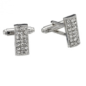 . Crystal Rectangle Cluster Cufflinks by Gemini London. Made with . Crystal and Rhodium Plated Silver Finish.
