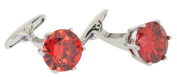 Red Crystal Cufflinks by Posh and Dandy