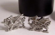 Pewter cufflinks in a wooden presentation box AEW3829000 - Welsh Dragon design