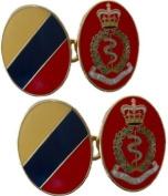 Royal Army Medical Corps Enamel Gilt Regimental Cufflinks
