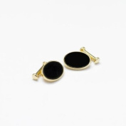 GB75110 - Bernex Cufflinks Onyx Oval Gold Plate Gents Complete with Gift Box