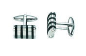 Fred Bennett Mens V381 Steel Cufflinks with Thin Rubber Lines