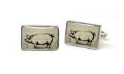 Tyler & Tyler Piggy Stencilart Cufflinks - White Brick Silver Finish Boxed